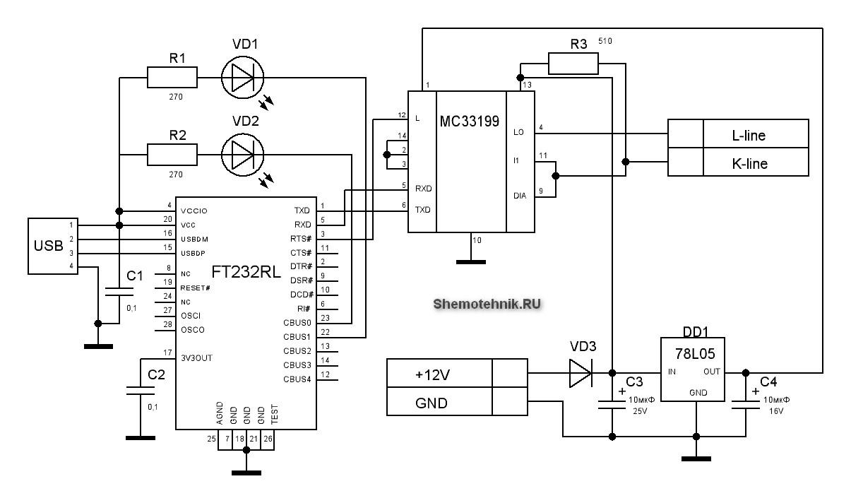 Рис.1 Схема USB k-line адаптера на FT232RL.